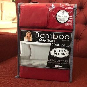 Bamboo Sheets 6 piece set King Dark Red